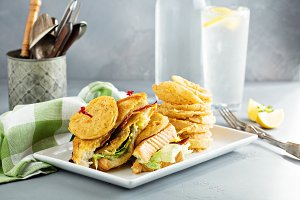 Fried green tomatoes BLT sandwich