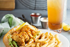 Po boy sandwich with fried shrimp