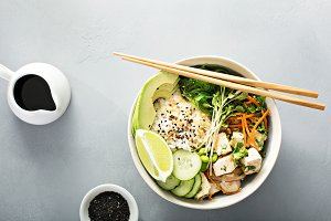 Poke bowl with silken tofu, rice and