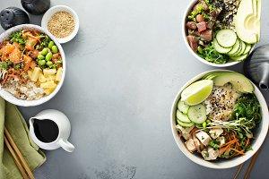 Variety of poke bowls with tuna, sal