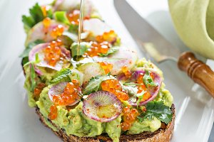 Gourmet avocado toast with caviar an
