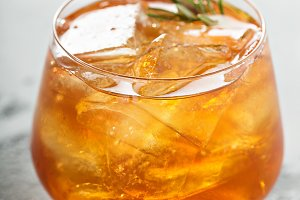 Old fashioned cocktail with ice and