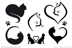 Cat heart logo designs, vector set