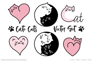 Cat doodles, YinYang cats, vector