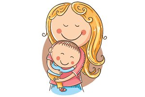 Happy cartoon mother with a child