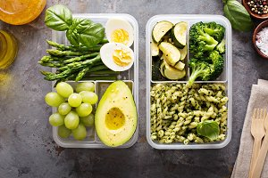 Vegetarian meal prep containers with