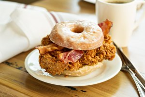 Fried chicken and bacon sandwich in