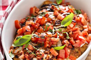 Bruschetta chicken with cheese, fres