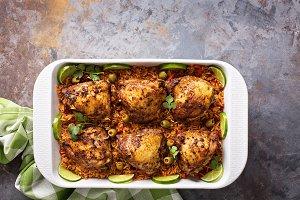 Arroz con Pollo, seared chicken with