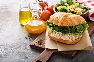 Chicken salad sandwich with lettuce