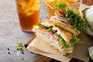 Turkey sandwich with cheese and herb