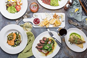 Big dinner table overhead view with