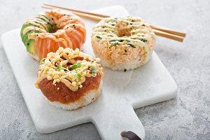 Sushi donuts with tuna and salmon