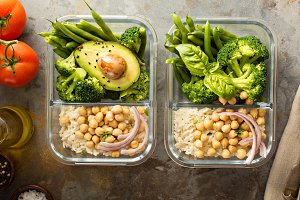 Vegan meal prep containers with cook