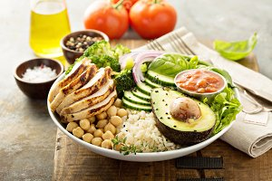 Healthy lunch bowl with grilled chic