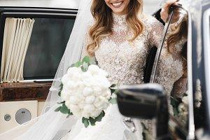 Gorgeous bride steps