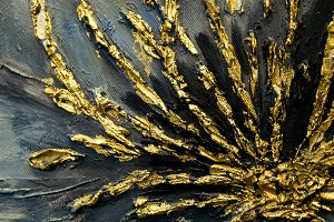 Golden flower painted in oil on blac