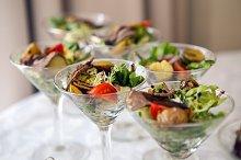 triangular Martini glass with a vege