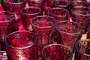 group of glasses of red glass for dr