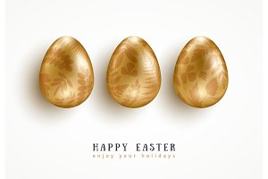 Golden eggs with floral pattern