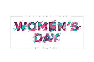 Women's day typography with frame