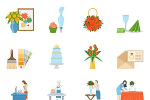 Home interior design icons set