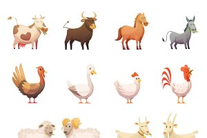 Farm animals cartoon icons set