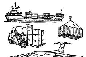 Hand drawn sketch transportation set