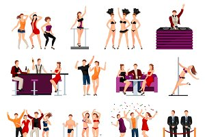 Dancing night club flat icons