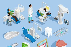Dentist isometric icons set