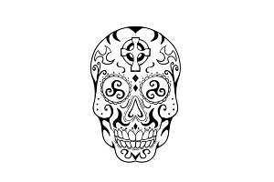 Mexican Skull Triskele Celtic Cross
