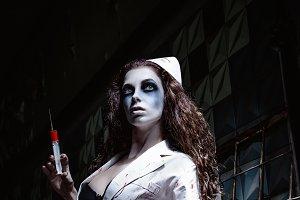 Horror: creepy wicked insane nurse
