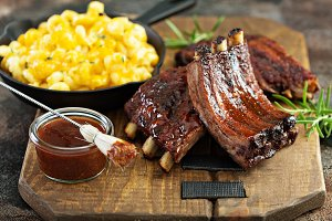 Grilled and smoked ribs with barbequ