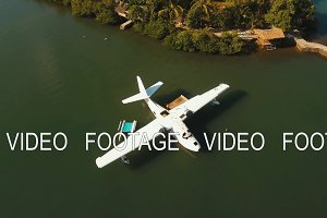 Seaplane on sea water surface