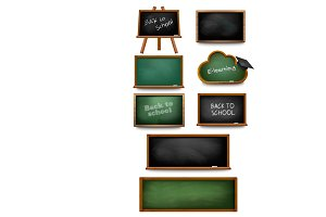 Set of chalkboards and schoolboards.