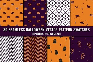 80 Halloween Seamless Vector Pattern