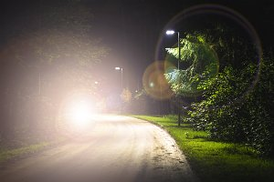 night dark mystery road with light a