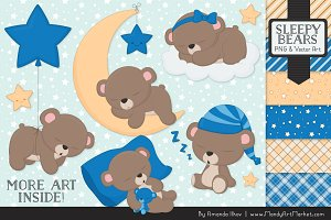 Blue Sleepy Bears Clipart