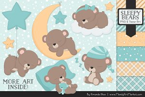 Aqua Sleepy Bears Clipart
