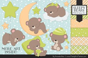 Bamboo Sleepy Bears Clipart