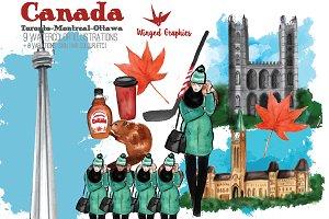 CANADA travel watercolour clipart