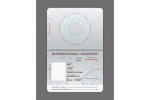 Blank open passport template