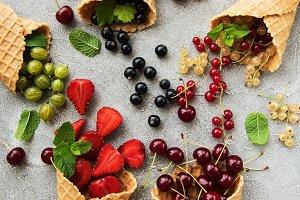 ice cream cone with berries