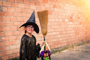 witch with broom, halloween party