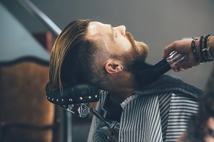 Barbershop client on a vintage chair