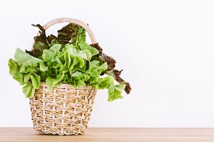 Vegetables for salad in the basket