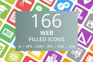 166 Web Filled Round Corner Icons