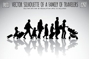 Silhouette of a family of travelers