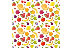 cartoon fruits pattern. colorful