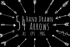 Bundle - 54 hand drawn arrows